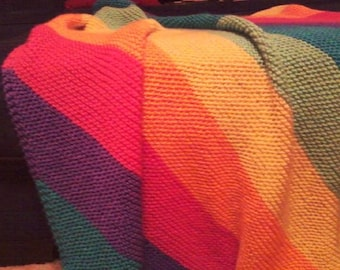 Simply Soft Brites Rainbow Hand Knit Baby Toddler Lap Blanket