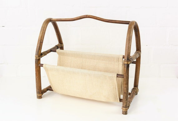 Vintage newspaper stand made of rattan & Cotton Antique Bamboo Magazine holder