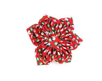 Red snowman collar flower, snowman dog bow tie, red holiday cat bow tie, snowman cat flower, red bow tie