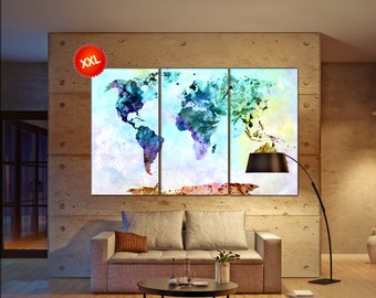 canvas map of the world  print on canvas canvas map of the world print art artwork large world map Print home office decoration