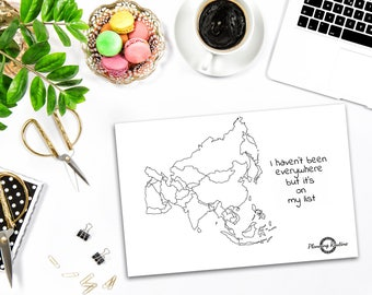 Asia Planner Stickers, Map of Asia, Map of the World, Travel Tracker