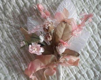 mini flowers BOUQUET blues vintage millinery cloth flowers 9 stems  tussie mussie