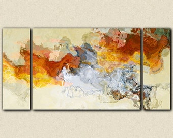 """Abstract expressionism canvas print, 30x60 to 40x78 gallery wrap triptych in orange, red and white, from abstract painting """"Arabesques"""""""