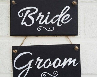 Bride and Groom chair signs chalkboard wood plaque signs hand painted handmade wedding decor gift idea Weddings