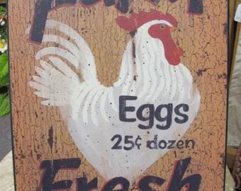 Chicken Decor,Farm Kitchen Wall Decor,Country Kitchen Decor,Eggs,Farm Fresh,12x16,Linda Spivey