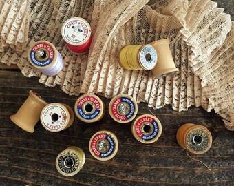 Vintage Thread Stock, Thread, Wood Spools, Old Thread, J.P Coats, Coats & Clark, 3 Additional Wood Spools, LOT of 12, Rustic Sewing Supplies