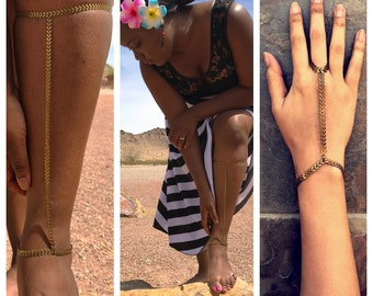 Distressed Bronze Arrows - Dusty Dirty Chevron - Leg Chain, Calf Jewelry - Multiple Sizes or Custom  + Optional Hand Bracelet!