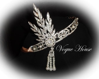 Beautiful Great Gatsby 1920's style headband with ribbon and faux pearls