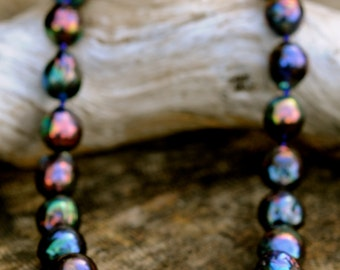 stunning black baroque pearl necklace, large kasumi pearl necklace, gorgeous midnight rainbow black pearls, jade clasp