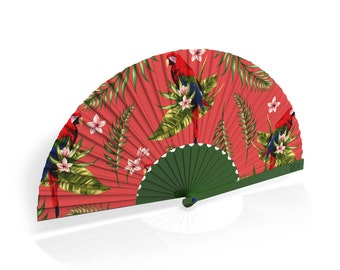 """Khu Khu Hand-Fan / Abanico with """"Plum Parrot"""" tropical print from the Flight of Fancy Collection"""
