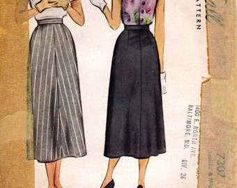 1940s Midi Skirt Pattern - Vintage McCalls 7307 - Waist 28