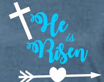 Heat Transfer Vinyl Designs | He Is Risen Shirt | Easter shirt | He Is Risen Cross | Easter Shirt DIY decal - Save Money! Do it yourself!