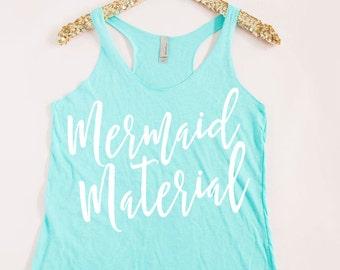 Mermaid Material Tank Top - Mermaid Shirt - Mermaid Workout Tank - Gym Shirt - Gym Tank - Calligraphy Mermaid Tank - Nautical Tank