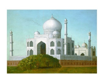 Taj Mahal, American Folk Art Oil Painting Print