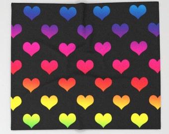 Rainbow Heart Blanket, Rainbow Blanket, Rainbow Throw Blanket, Rainbow Toss Blanket, Rainbow Heart Bedding, Rainbow Bed Throw, Rainbow Decor