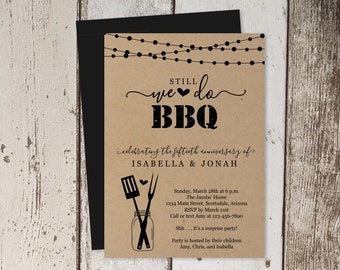 Anniversary BBQ Invitation Template, Printable We Still Do BBQ, Rustic Kraft Paper, Instant Download Digital File PDF, 50th 25th, Surprise