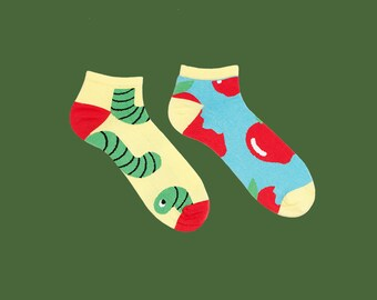 Crispin courte chaussettes, chaussettes de fruits, pomme chaussettes, chaussettes de l'été pour les hommes et les femmes