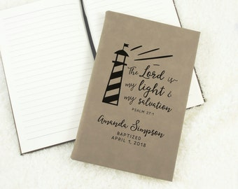Baptism Gift - Personalized Journal - Devotional Journal - Sermon Notebook - Spiritual Journal Diary - Custom Christian Gift - Lighthouse