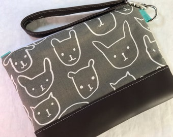 Print Shop Cotton and Steel Clutch with Faux Leather