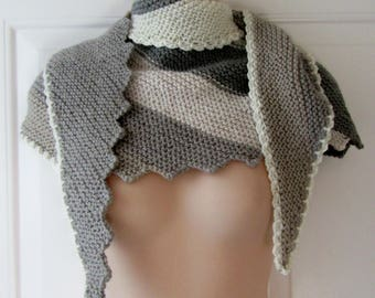 New Saw Tooth Shawlette Scarf Cowl Neck Warmer Wool Blend (#31)