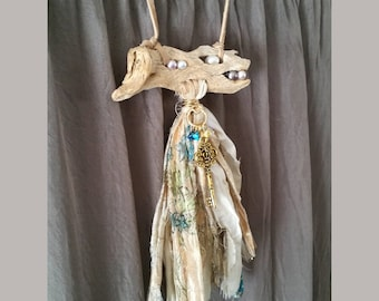 OOAK Driftwood and Pearl Tassel Necklace