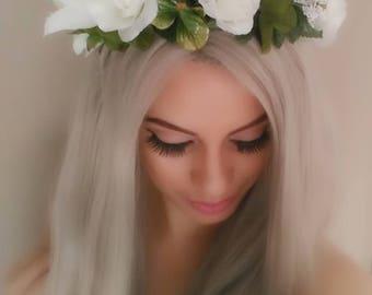GORGEOUS White Floral Crown, Flower Crown, Floral Headband, White Flower Crown