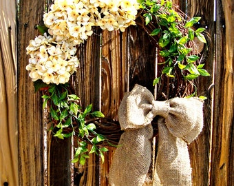 Rustic Hydrangea Wreath, floral wreath, Door Wreath, Wreaths, summer wreath,  Wreath, Hydrangea Wreath, wreaths, front porch decor