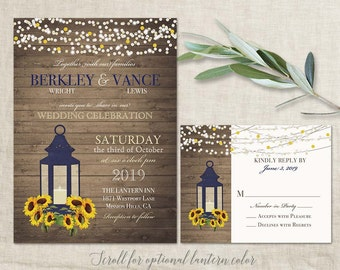 Sunflower Wedding Invitation Rustic Lantern Country Wedding Invitations with Sunflowers and Lantern wood grain background Fall Summer