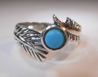 Sleeping Beauty Turquoise Silver Feather Ring|Sterling Silver Feather Ring|Blue Turquoise Feather Ring|Sterling Feather Turquoise Ring