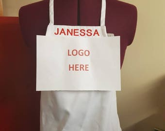 Your Child Could Be A Master Chef Junior with a Custom Embroidered Apron Convo Me For Logo White Black