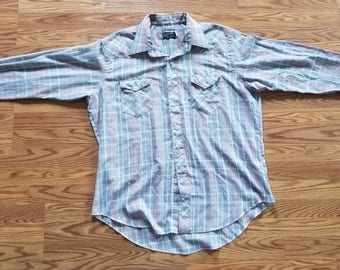 Wrangler Vintage 80's Button Down Shirt Made in USA 17 1/2 x 35