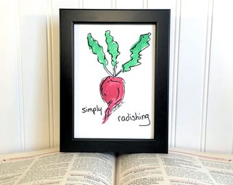 Original Watercolor Painting - Simply Radishing - Unframed