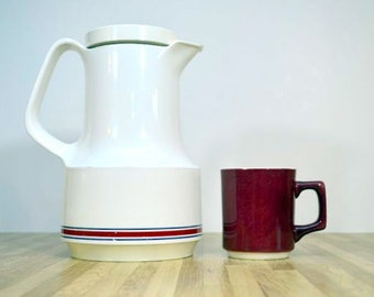 Jahrgang Bettina Kaffee Karaffe Thermoskanne Nr. 540 Made in West Germany rot, weiß und blau gestreift