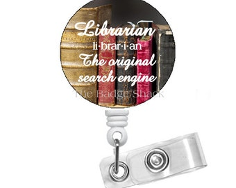Librarian Badge Holder - Retractable Badge Reel - School Badge Holder - Book Badge Reel - Library Badge Clip - Gift under 10