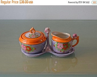 Memorial Day Sale Vintage Blue / Orange Lusterware Cream and Sugar Set with Tray Made in Japan Circa 1930 by Seyei Toki Co Ltd, Nagoya, Japa