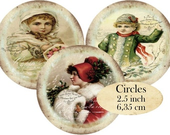 Circles 2.5 inch Vintage Christmas Instant Download digital collage sheet C115 Victorian Children Decoupage Iron on Fabric