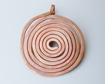 Simple large spiral copper pendant