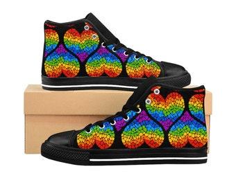 LGBTQ Gay Pride Rainbow Hearts Love Parade WomenS HighTop Sneakers