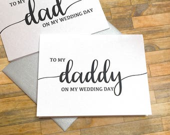 to my daddy on my wedding day - card for dad - wedding day card for father - daddys little girl - thank you mom and dad  - BLACK TIE