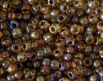 Transparent Saffron Picasso Miyuki 6/0 Seed Beads - Saffron Picasso Miyuki Seed Beads - 16 grams - Miyuki 6-4501 - 1604