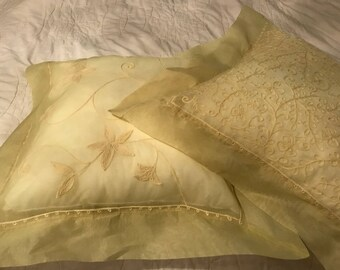 Pair of Organdy Throw Pillows with Candlewicking, Yellow