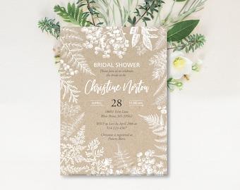 Botanic Bridal Shower Invitation, Baby Shower Invite, Printable Invitation, Ferns, Leaves, Bride Luncheon, Elegant Bridal Shower