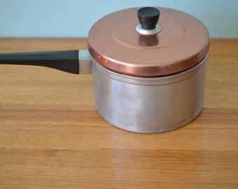 Vintage Retro Anodised 50s aluminium saucepan cooking pot mid century