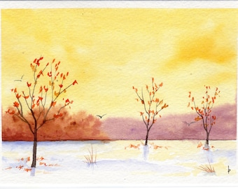 Original watercolor painting  SFA greeting card SUNNY winter day