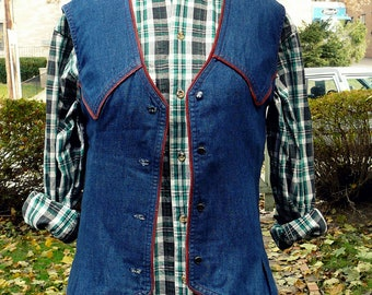 Vintage Tommy Hilfiger cotton oxford plaid button down tunic shirt