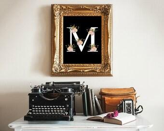 printable art Monogram, Letter M