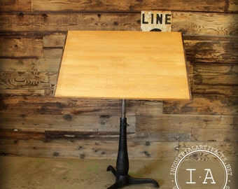 Vintage Industrial Black Cast Iron Base Drafting Table Reinforced Basswood Top