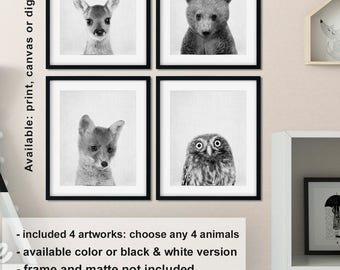 Woodland baby nursery, Forest animals poster, Forest creatures baby shower, Woodland prints nursery, Woodland animals nursery Print/Canvas