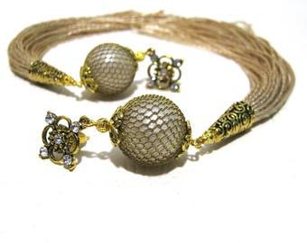 Tassel Earrings, Trending now Tassel Earrings, Long Beige Tassel Earrings, Boho Tassle Earrings, Must have, Fringe Earrings, Gifts for Her