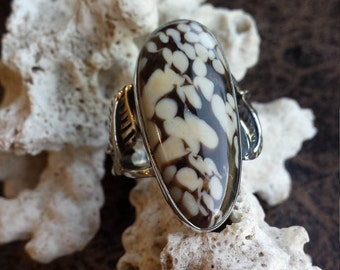 Sterling silver brown - beige spotted agate size 7 ring
